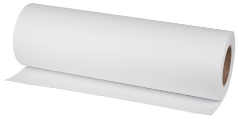 Roll paper for printers and engineering machines. Object is isolated on white background without shadows.