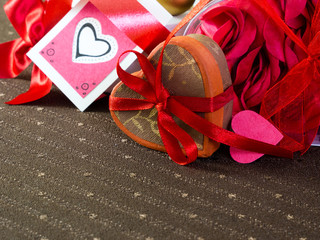 Heart shaped gift box with handcrafted tag for Valentine's day