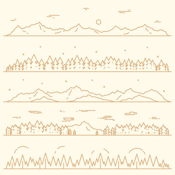 Set horizontal mountains fir forest linear style