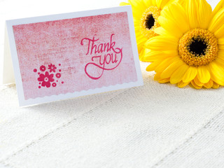 Handmade thank you card with flowers