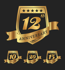 Golden anniversary badge labels design. Vector illustration