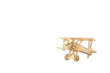 Wood airplane on old white background,