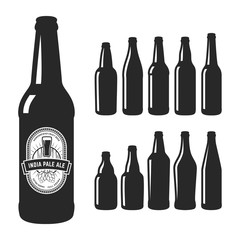 Vector craft beer silhouettes. Set of 10 various craft beer bottles. Different shapes and sizes. India pale ale label.