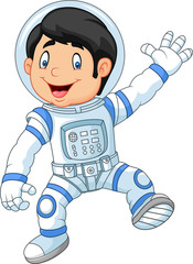 Cartoon little boy wearing astronaut costume