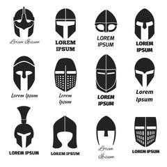 Warrior helmets black vector icons or logos set