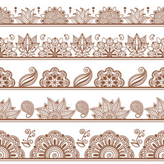 Wall Mural - Seamless borders or patterns in indian style with abstract floral elements. Henna tattoo, Mehndi