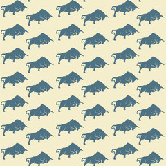 Bull vector art background design for fabric and decor. Seamless