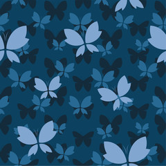 Vector seamless pattern with butterfly on dark blue background.