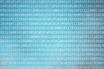Grunge textured binary numbers code information on abstract grunge blurred cyan blue color background. Background with binary data and grunge cyan blue colored illustration background.