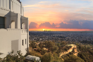 Los Angeles skyline sunset from the Griffith Observatory in Southern California, United States