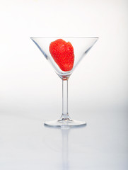 Strawberry in cocktail glass