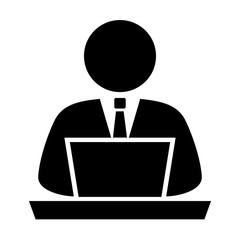 Person using computer, vector icon