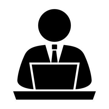Person using computer, vector icon