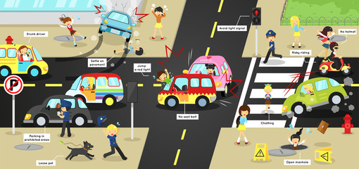 Infographic accidents and safety on traffic road vehicles cars bicycle and careless people on city street with sign and symbol in cute funny cartoon concept for kids(vector)