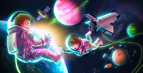 Cartoon astronaut couple boy girl flying in space for universe exploration and adventure with space shuttle satellite earth planet and stars in the background for children education concept