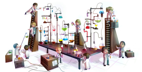 Cartoon children scientists chemistry working and experimenting chemical tower refinery laboratory with complicate test tube beaker and science tool in isolated background