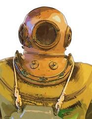 Old diver helmet and underwater illustration