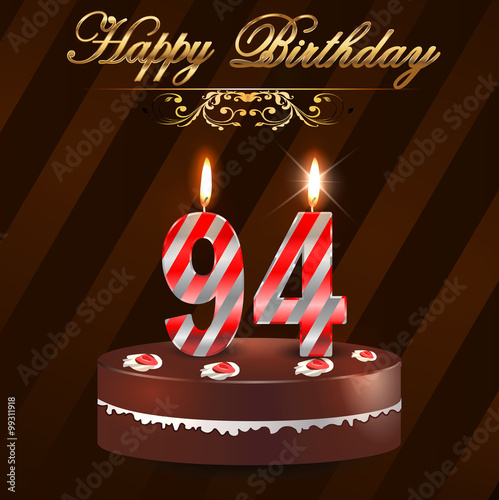 94 Year Happy Birthday Card With Cake And Candles 94th