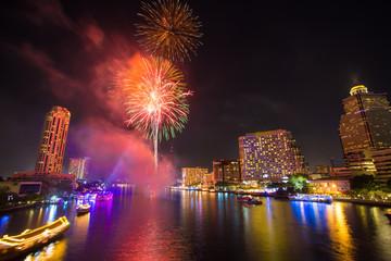 Firework at Chao Phraya River in countdown celebration party 2016 Bangkok Thailand