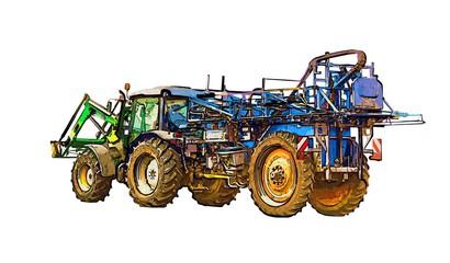 Agricultural tractor illustration color art