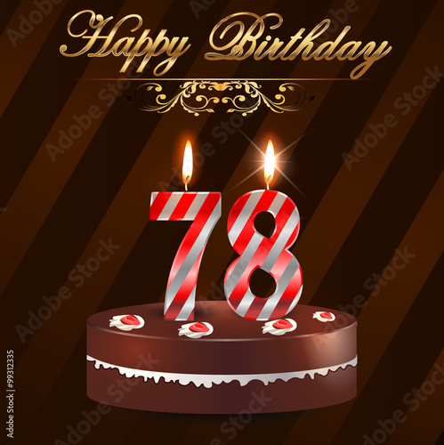 78 Year Happy Birthday Card With Cake And Candles 78th