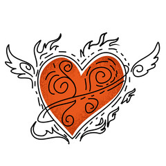 Red heart with wing