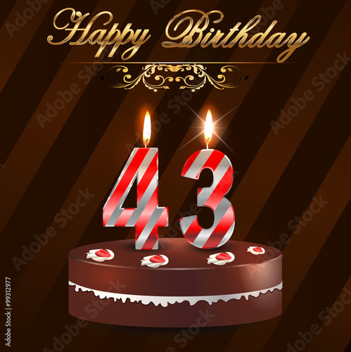Quot 43 Year Happy Birthday Card With Cake And Candles 43rd