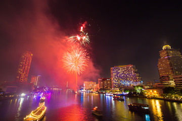 Firework with smoke at Chao Phraya River in countdown celebration party 2016 Bangkok Thailand