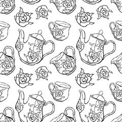 Tea set. Coffee service. Teapot and cup.