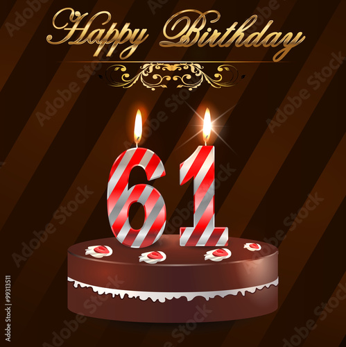 """61 Year Happy Birthday Card With Cake And Candles, 61st"