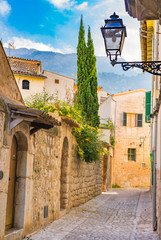 Wall Mural - Romantic view of a old village alleyway