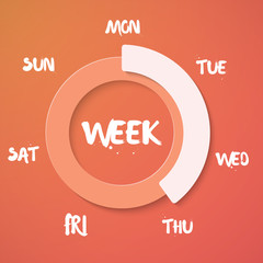 Week Loading Vector Illustration. Vector Weekend Countdown Backg