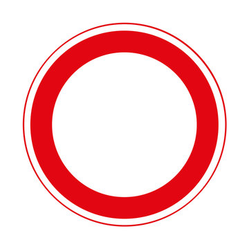 Road sign. Prohibitory sign. Road closed to all vehicles in both directions.