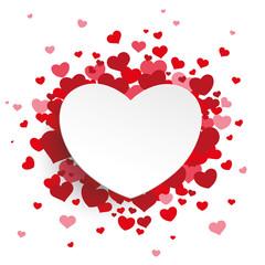 White Paper Emblem Hearts Background