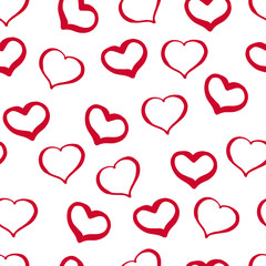 38_Hand-drawn Seamless Pattern from Hearts on a White Background