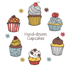 43-3_Set of Hand-drawn Cupcakes