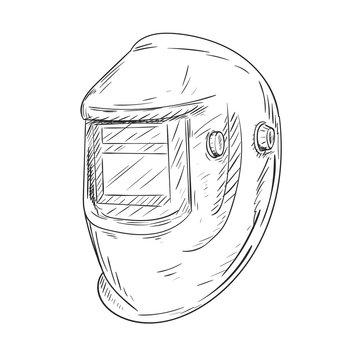 Welding helmet. Sketchy vector illustration