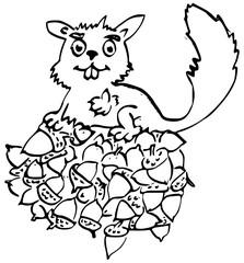 Eekhoorn op hoop eikels