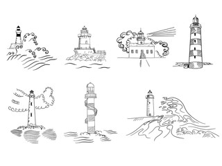 Sketchy hand drawn lighthouses vector set