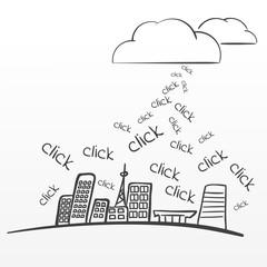 Big data collection vector sketchy illustration