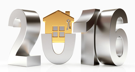 Silver 2016 year with golden house isolated on white background