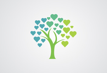 Tree Love Logo Vector