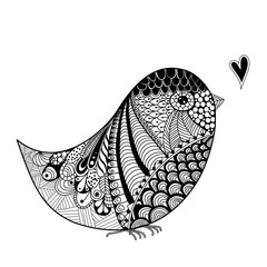 Zentangle inspired abstract illustration of bird