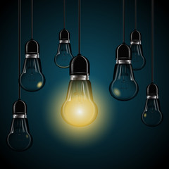 light bulbs with glowing  on dark blue background eps 10