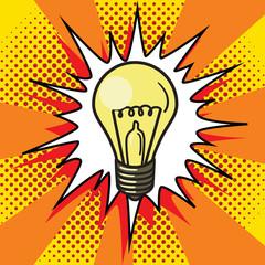 Fotobehang Pop Art Light bulb lamp pop art style vector
