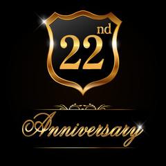22 year anniversary golden label, 22nd anniversary decorative golden emblem - vector illustration