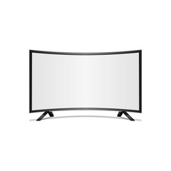 Curved tv screen. Display blank, technology digital, electronic equipment, mockup.