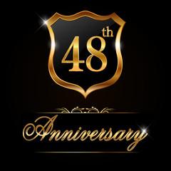 48 year anniversary golden label, 48th anniversary decorative golden emblem - vector illustration