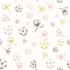 Hand drawn cotton flowers seamless pattern.