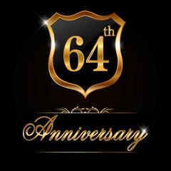 64 year anniversary golden label, 64th anniversary decorative golden emblem - vector illustration